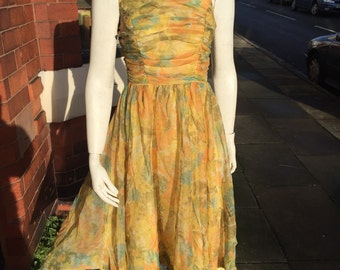 SALE Gorgeous yellow floaty original 1950's dress With rusching detail