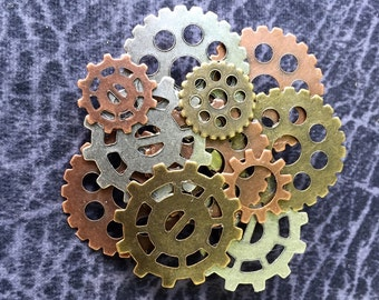 Steampunk Gear Brooch, Steampunk Gear Pin, Gear Pin, Gear Brooch, Victorian Pin, Multi Colored Gears, Steam Punk, Steampunk Jewelry, Gears