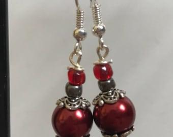 Red Silver Beaded Drop Earrings, Red Beaded Earrings, Red Silver Drop Earrings, Silver Red earrings, Red Silver Earrings, red earrings