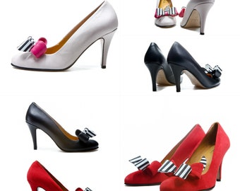 Handmade stiletto high heel wedding and bridesmaids shoes/ Bow shoes/ Red shoes/ Leather shoes/ Unique shoes/ Designer shoes/ FREE SHIPPING