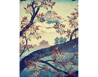 "Vintage Japanese Ukiyo-e Art Print signed Landscape Poster by Kijiermono ""Suidi the Heights"" Wall Home Decor"