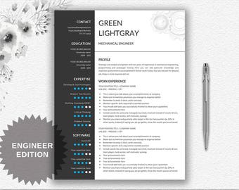 Engineer Resume Printable Template Editable in Word | Gear Design Resume | CV Template + Resume Writing Tips | Instant Download | Modern