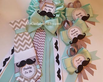 Mustache Mommy to be Corsage/Boy Mommy to be Corsage/Aqua Gray Mustache Mommy to be Pin/Little Man Mommy to be Corsage/Little Man Daddy Pin