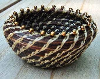 Horsehair Basket: Glorified Feed Bucket, MIniature Coiled Basket