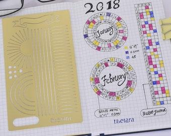 """Bullet Journal Stencil Template Planner Scrapbooking Supplies Papercraft DIY  ,Fit A5 Notebook,,tibetara®, 4*7"""",1 each/lot"""