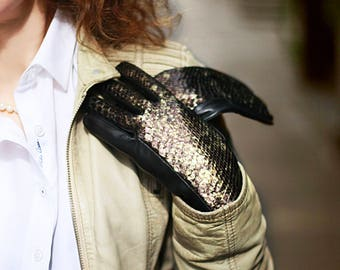 Women leather gloves real leather gold gloves black leather gloves lady gloves wife gift handmade leather gloves