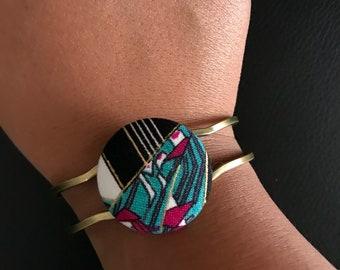 Custom Made Brass Fabric Button Bangle Bracelet