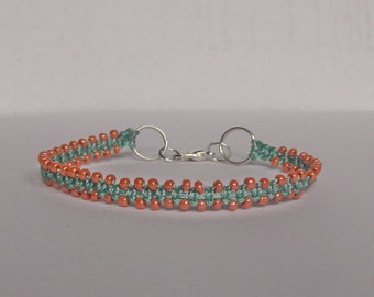 Friendship bracelet. Micro macrame bracelet. Beaded macrame jewelry.