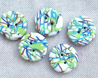 5 lime green, blue and white buttons. Round buttons of 2.3 cm