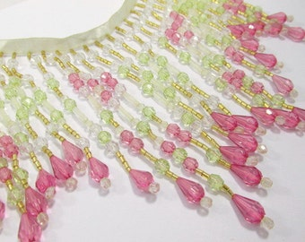 Pink Rose, Mint Green, and Clear 5.5 Inch Long Beaded Fringe Trim
