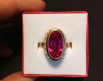 Gold Ring Antique Russian Jewelry USSR Old Vintage White Original Box Ruby Gemstone Pink Red Costume Rare