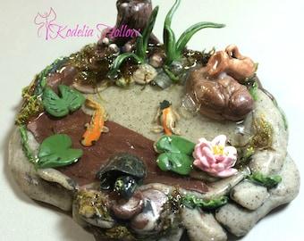 Koi Pond- Dollhouse Miniature -Garden-Pond- Dollhouse Garden-Fairy Garden- Polymer Clay Pond