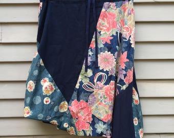 Artsy asymmetrical convertible skirt Made in Japan kimono fabric cotton summer