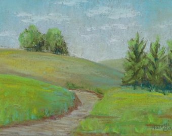 Original Wall Art Landscape Pastel Painting Hills and Trees 4
