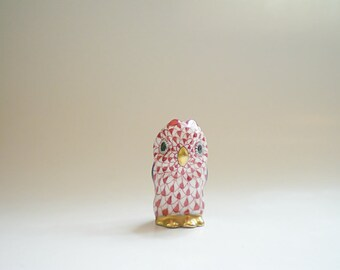 Miniature Herend Owl Figurine Hungarian Porcelain Wise Old Owl Gift