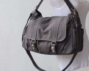 Mother Day SALE 25% -  Messenger Bag, Pico2 in Grey, Diaper Bag, Laptop Bag, School Bag, Shoulder Bag, Women Bag, College Bag, Gift for Her