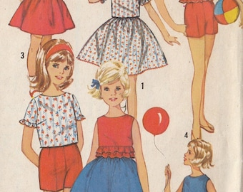 Vintage Sewing Pattern Girls Skirt Top Pants 1960s