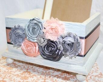 CARD BOX / Ivory Card Box / Wedding Card Box / Peach and Gray Card Box / Distressed Card Box / Blush and Ivory Card Box / Peach Wedding