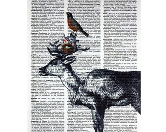 Robin and Deer Friends Printed on a Vintage Dictionary Page