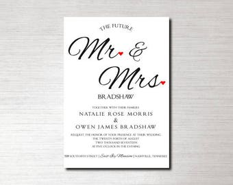 Printable Future Mr. & Mrs. Black and White with Heart Accents Wedding Invitation, Pocket Fold, Monogram, Custom, Calligraphy, Suite