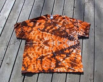 Tye Dye Mandala (2XL) Tie Dye Tee - Orange & Black