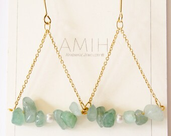 Green Jade earrings green stone dangle earrings teardrop earrings natural stone gift for her bridesmade jewelery elegant earrings gem stone