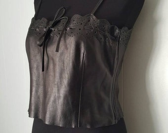 90s Black Leather Crop Top with Hole Punch Design