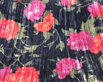 "Crushed Velvet Flower Blossom Print 45"" wide Fabric By The Yard"