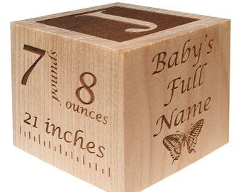 Custom Wooden Baby Block Personalized for Babies, Newborns, Birthday, Baptism Gift Custom Engraved, Newborn baby gift