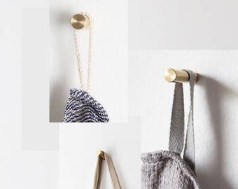 3 Brass wall hook - handmade - by Golden Biscotti - golden - kitchen