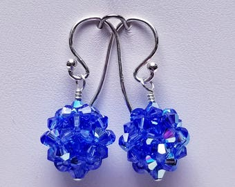 Sapphire AB, Swarovski,  Woven Crystal Ball, woven, Sterling silver, September, Birthstone, Earrings, Royal blue, Blue