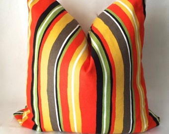 Red Orange Yellow Stripe Outdoor Throw Pillow, Decorative Outdoor Pillow Cover, Cushion for Patio Furniture, Housewares Decor 0010