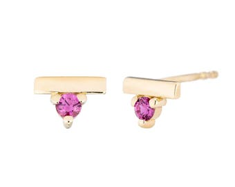 14K Gold Ruby Bar Studs, Pink Ruby Post Earrings, July Birthstone Earrings, gift for her, made to order in 3-5 days