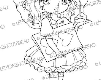 Digital Stamp Birthday Cake Card Fairy, Digi Download, Valentine's Day, Happy Love, Cute Coloring Page, Scrapbooking Supplies, Clip Art