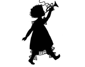 GIRL WITH HORN silhouette unmounted rubber stamp, lg., Christmas, music, marching band, trumpet, Sweet Grass Stamps No.1