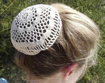 Hair Net / Bun Cover Sz Large Crocheted Flower Style Amish Mennonite Black Brown White Natural