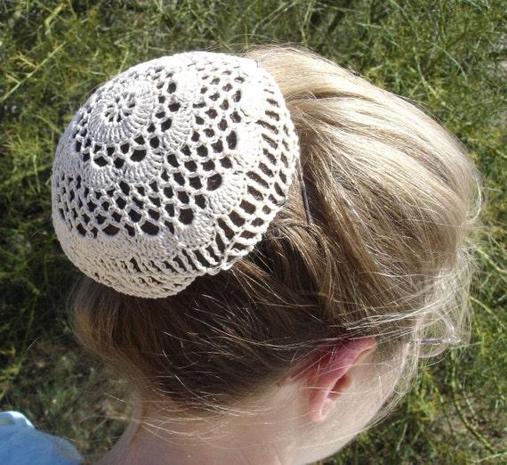 Hair Net Bun Cover Sz Large Crocheted Flower Style Amish