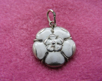 I) Vintage Sterling Silver Charm Enamelled Yorkshire rose hallmarked for 1958