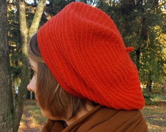 Red french beret for women Scarlet red spring hat Gift for wife Wool slouchy hat Textured hand knit beret