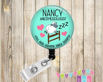 Anesthesiologist - Pool Blue with Sheep - Personalized - Button Badge Reel - Retractable ID Holder Alligator or Slide Clip Name Tag Holder