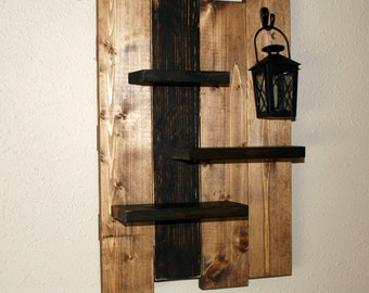 Rustic Wall Shelf & Lantern-  Reclaimed Wood Shelf-  Distressed Pallet Wood- Primitive Home Decor-  Stained Primitive Wall Decor
