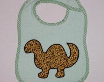 Handmade Baby Bib - Toddler Bib - Dinosaur - Applique - Terrycloth Toddler Bib