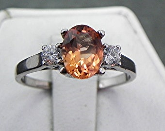 Golden Tourmaline   8x6mm  1.12 Carats   with .14 cts of Diamonds 14K white gold ring 1069