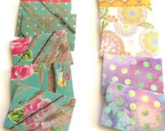 Paper Envelopes//Tiny Envelopes//Polka Dots//Flowers//Wood Grain//Handmade Envelopes//Decorative Envelopes//Stationery