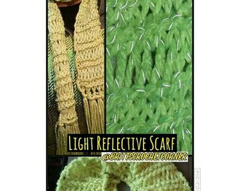 Cozy Knit Light Reflective Scarf Ready to Ship, Gift Under 10 Dollars!