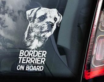 Border Terrier on Board - Car Window Sticker - Dog Sign Decal - V01