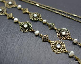 Art deco necklace lace, art deco long necklace