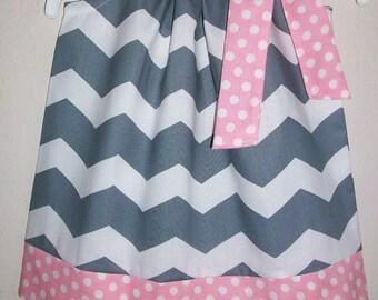 Pillowcase Dress Chevron Dress Grey and Pink Dress Girls Dresses Birthday Dress Toddler Dresses Baby Dresses Pink and Grey Summer Dresses