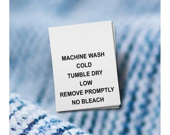 100 PRINTED CARE LABELS (Style 3-Machine Wash Cold...)