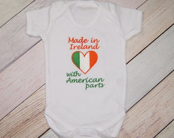 Made in Ireland with American Parts Bodysuit - Funny Bodysuit - One Piece Funny Baby Outfit - Coming Home Outfit - All American Baby